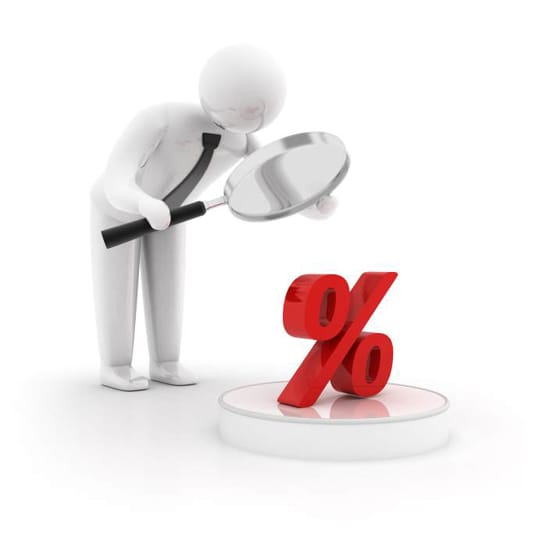 Förstoringsglas och procenttecken