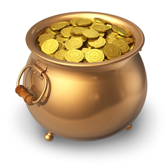 Gryta med guldmynt