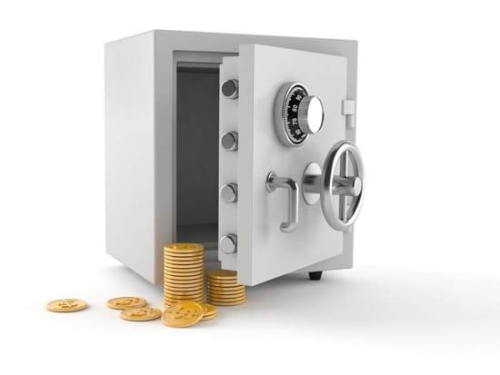 Kassaskåp och mynt